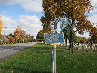 Hartland Central Cemetery Marker - Eastward image. Click for full size.
