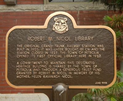 Robert M. Nicol Library Marker image. Click for full size.