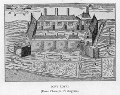 Champlain's diagram of Port-Royal image. Click for full size.
