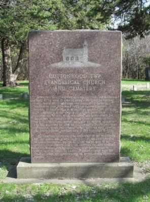 Cottonwood Twp. Evangelical Church and Cemetery Marker image. Click for full size.