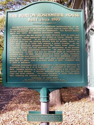 The Burton/Rosenmeier House Marker (Side A) image. Click for full size.