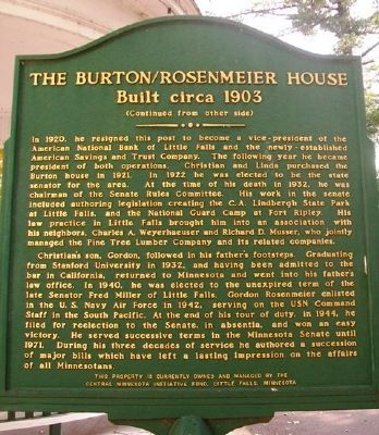 The Burton/Rosenmeier House Marker (Side B) image. Click for full size.