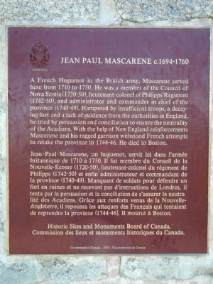 Jean Paul Mascarene Marker image. Click for full size.