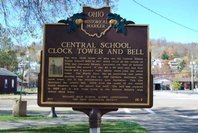 Central School Clock Tower and Bell Marker image. Click for full size.