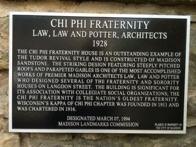 Chi Phi Fraternity Marker image. Click for full size.