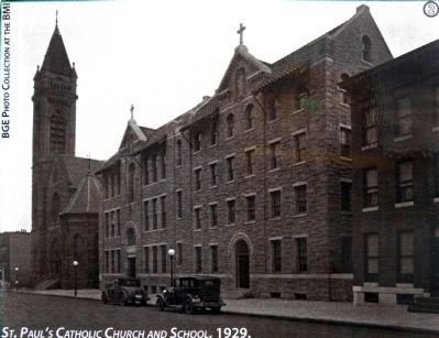 St. Pauls Catholic Church and School, 1929 image. Click for full size.