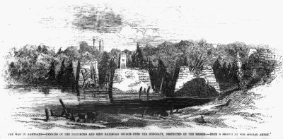 Remains of the Monocacy Railroad Bridge - September 1862 image. Click for full size.
