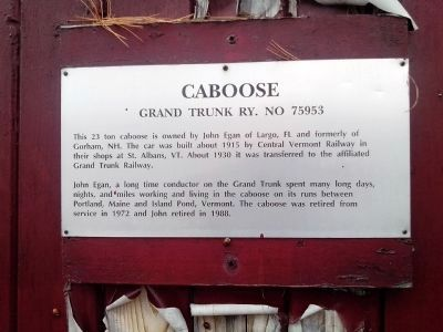 Caboose Grand Trunk Ry. No 75953 Marker image. Click for full size.