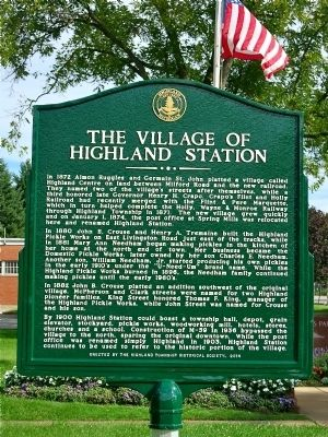 The Village Of Highland Station Marker image. Click for full size.