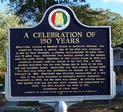 A Celebration of 150 Years Marker, side 1 image. Click for full size.
