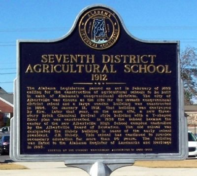 Seventh District Agricultural School - 1912 Marker image. Click for full size.
