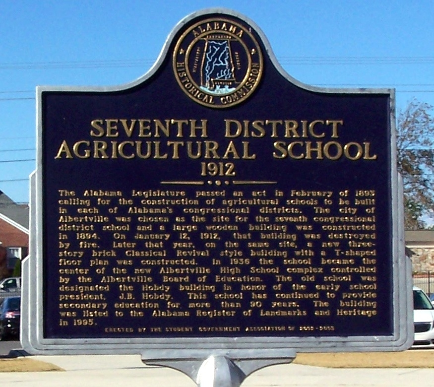 Seventh District Agricultural School - 1912 Marker