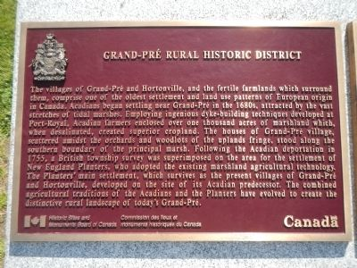 Grand-Pré Rural Historic District Marker (English) image. Click for full size.