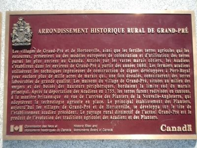 Arrondissement Historique Rural de Grand-Pré Marker (French) image, Touch for more information