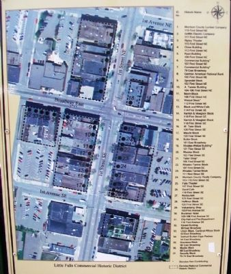 Map & Key of Little Falls Commercial Historic District on Marker image. Click for full size.