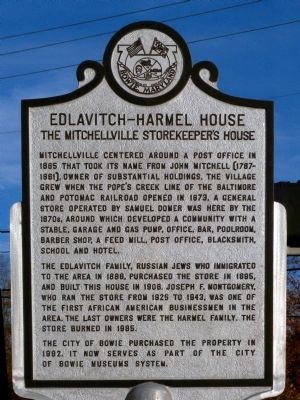 Edlavitch-Harmel House Marker image. Click for full size.