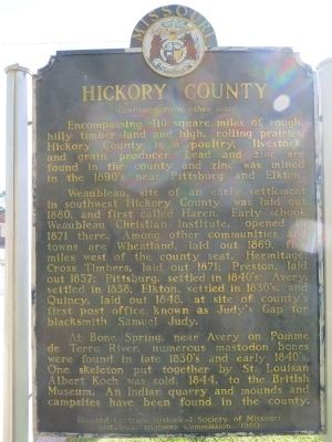Hickory County Marker <i>Side B:</i> image. Click for full size.