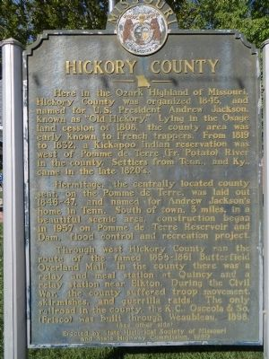 Hickory County Marker <i>Side A:</i> image. Click for full size.
