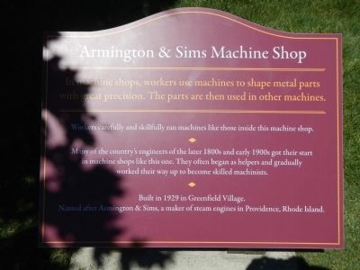 Armington & Sims Machine Shop Marker image. Click for full size.