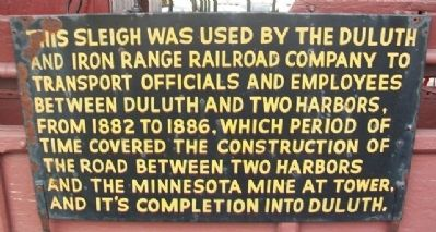 D&IR Railroad Company Sleigh Marker image. Click for full size.