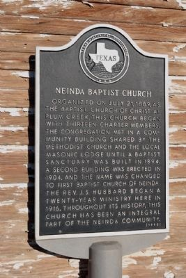 Neinda Baptist Church Marker image. Click for full size.