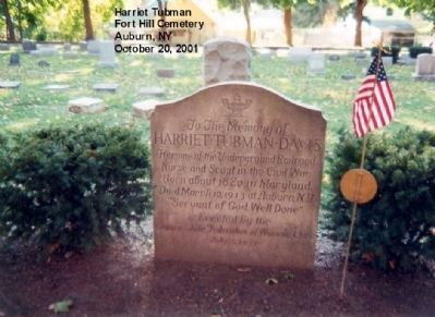 Harriet Tubman grave marker image. Click for full size.