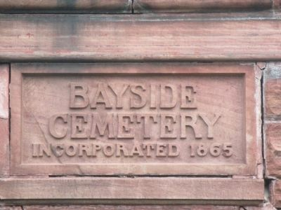 Bayside Cemetery Gateway Date Stone image. Click for full size.