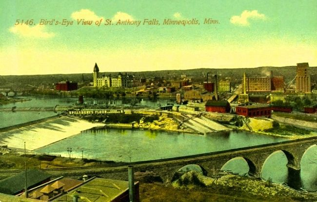 <i>Bird&#39;s-eye View of St. Anthony Falls, Minneapolis, Minn.</i> image. Click for full size.
