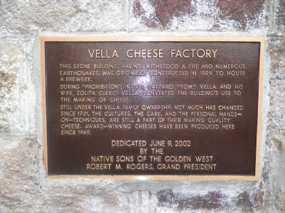 Vella Cheese Factory Marker image. Click for full size.