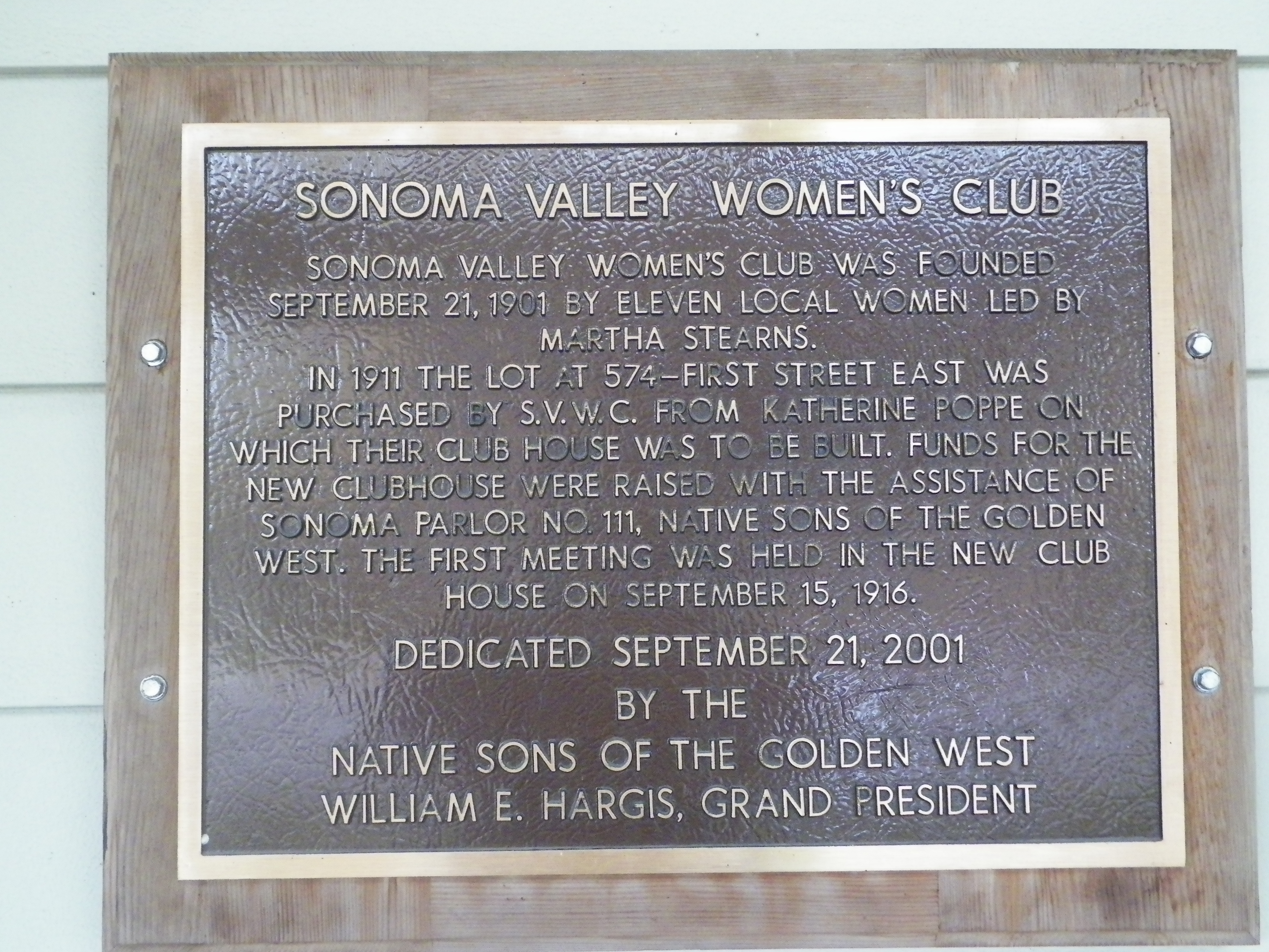 Sonoma Valley Women's Club Marker