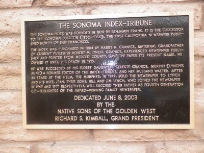 The Sonoma Index-Tribune Marker image. Click for full size.
