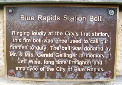 Blue Rapids Station Bell Marker image. Click for full size.