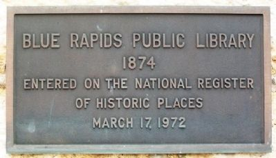 Blue Rapids Public Library NRHP Marker image. Click for full size.