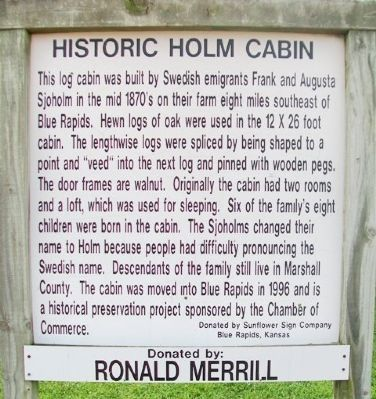 Historic Holm Cabin Marker image. Click for full size.