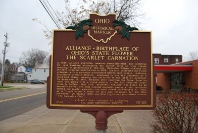 Alliance-Birthplace of Ohio's State Flower - The Scarlet Carnation Marker image. Click for full size.