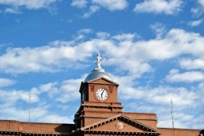 Statue of Lady Justice and Domed Clock Tower image. Click for full size.
