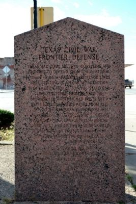 Texas Civil War Frontier Defense Side of Marker image. Click for full size.