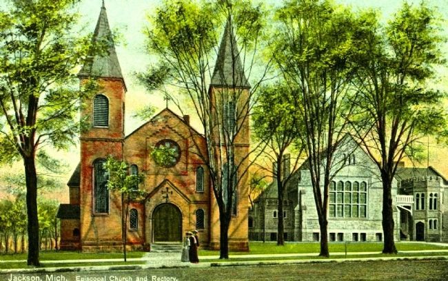 <i>Jackson, Mich. Episcopal Church and Rectory</i> image. Click for full size.