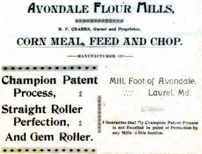 Avondale Mill Advertisement image. Click for full size.