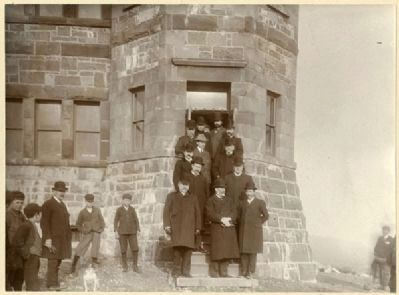 <i>Marconi and assistants with Newfoundland cabinet outside of the Cabot Tower </i> image. Click for full size.