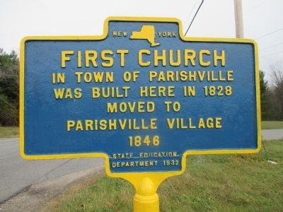 First Church in the Town of Parishville Marker image. Click for full size.
