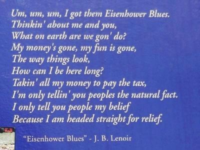 J. B. Lenoir Marker (<i>Eisenhower Blues detail</i>) image. Click for full size.