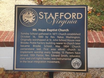 Mt. Hope Baptist Church Marker image. Click for full size.