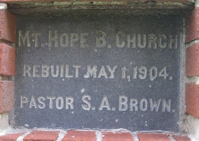Mt. Hope Baptist Church Cornerstone image. Click for full size.