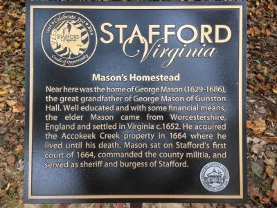 Mason's Homestead Marker image. Click for full size.