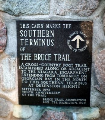 Southern Terminus of The Bruce Trail Marker image. Click for full size.