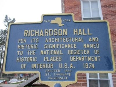 Richardson Hall Marker image. Click for full size.