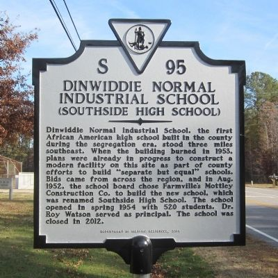 Dinwiddie Normal Industrial School Marker image. Click for full size.