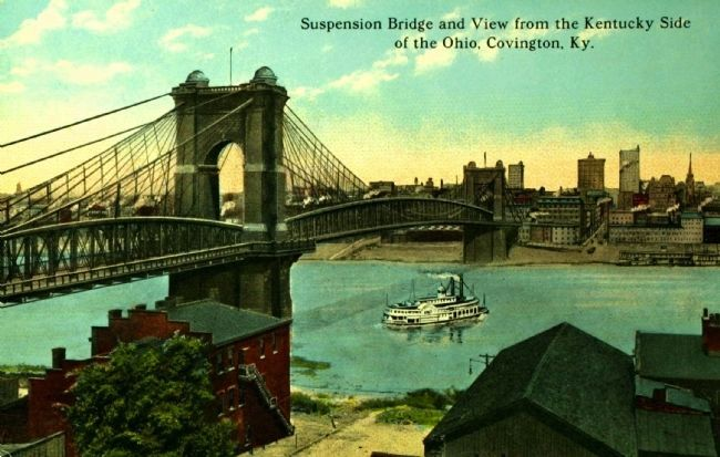 <i> Suspension Bridge and View from the Kentucky Side of the Ohio River, Covington, Ky.</i> image. Click for full size.