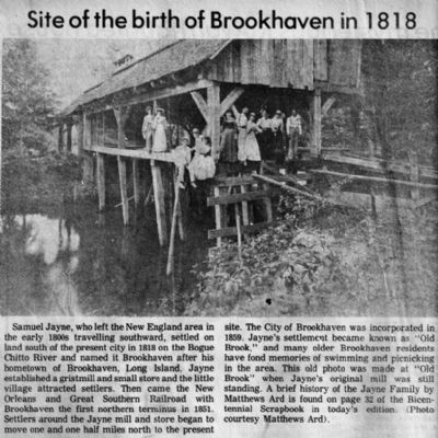 Site of the Birth of Brookhaven in 1818 image. Click for full size.